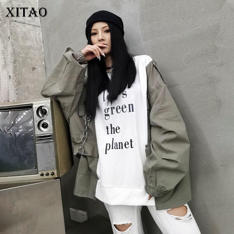 XITAO Letter Sweatshirt Fashion Women 2020 Autumn Elegant Goddess Fan Casual Style Full Sleeve Minority Loose Sweatshirt DZL1813 1