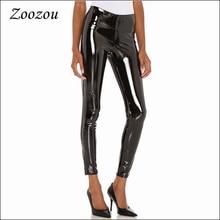 Bodycon Slim Latex Patent Leather Pants Women Back Zipper Skinny Warm Leggings Sexy Pu Faux Leather Ankle Length Pants Custom