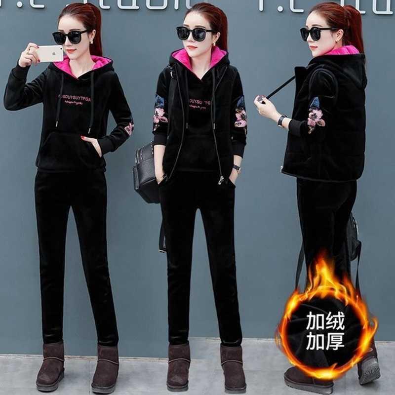 Женские спортивные костюмы из 3 бархата, комплект из 3 предметов размера плюс, большой размер 4xl, осенне-зимняя одежда, костюмы с брюками, верхняя одежда, теплая одежда