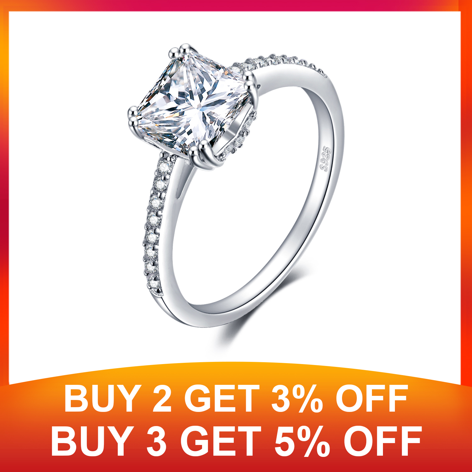 JewelryPalace Princess CZ Engagement Ring 925 Sterling Silver Rings for Women Anniversary Ring Wedding Rings Silver 925 Jewelry in Rings from Jewelry Accessories