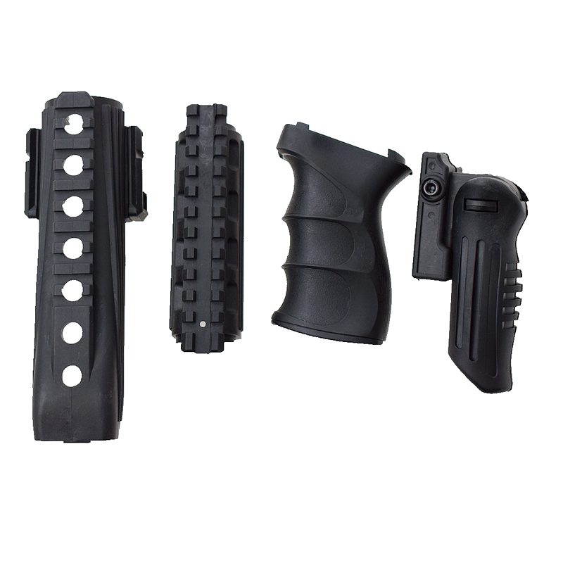 Tactical AK 74 Handguards Upper Lower Picatinny Rails W/ Vertical Grip ABS Handle Foregrip 20mm Rail Pistol Rifle Grip Picatinny