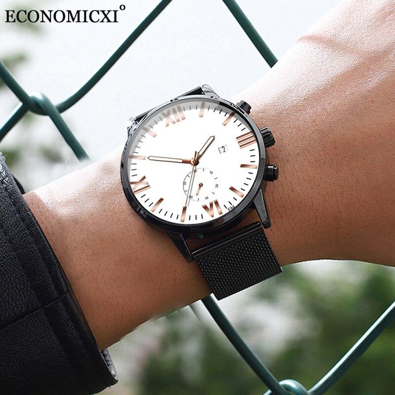 Quartz Watches Date Gift Business Stainless Retro Luminous Strap Mesh Relogio Masculino