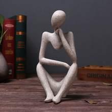 Estilo europeu abstrato pensador estátua escultura estatueta escritório decoração de casa