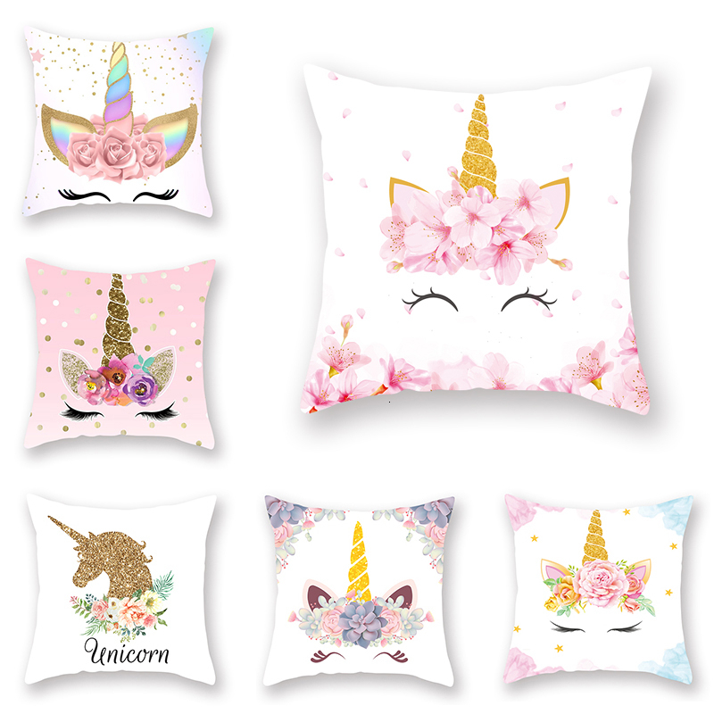 New <font><b>Unicorn</b></font> Printed Casual <font><b>Cushion</b></font> <font><b>Cover</b></font> Square Polyester Home Decor Pillow Case Couch Chair Rest Pillow Case image