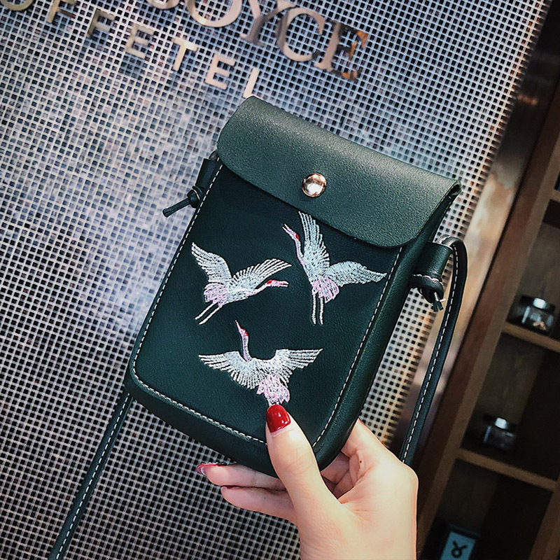 Fashion Bird Embroidery Mobile Phone Bagls For Women Girls Small Crossbody Bags Pu Leather Mini Messenger Bags Ladies Hand Bags