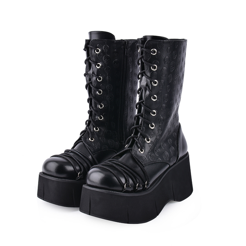 Fashion Winter Women Gothic Skull Print Motorcycle Boots Female Foam Platform High Hoof Heel Shoes Lacing Punk Middle Boots