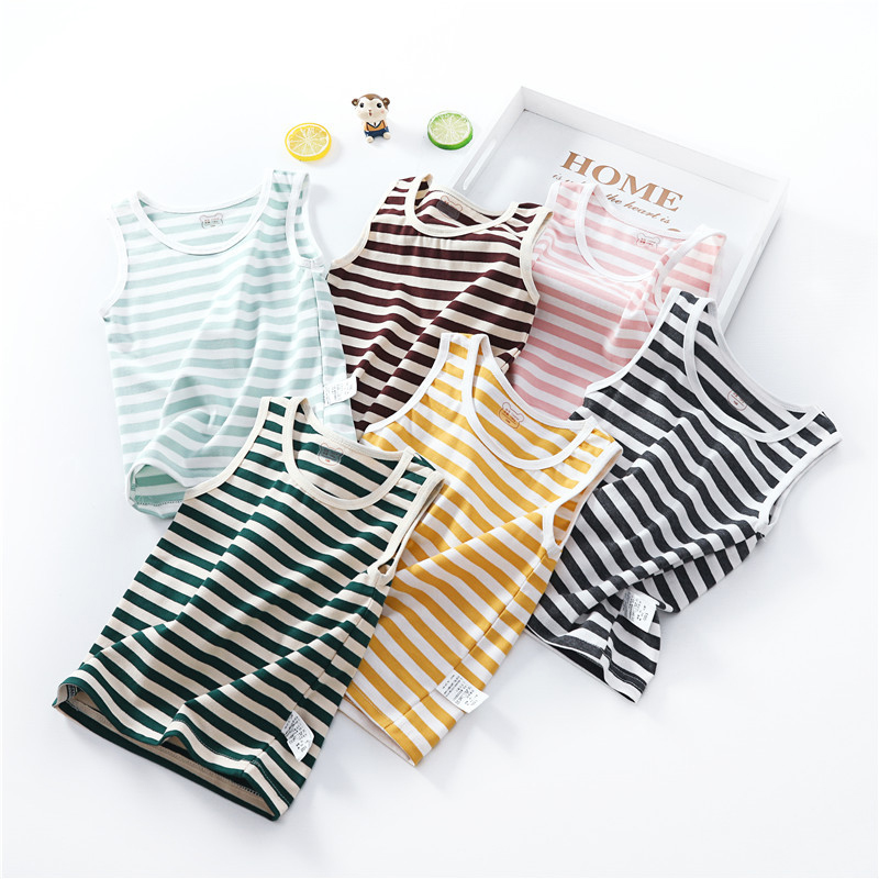 Kids Boys Vests T-shirts For Children Clothes Cotton Tees Stripe Printing Shirts Boys Sleeveless Tops Summer Clothing