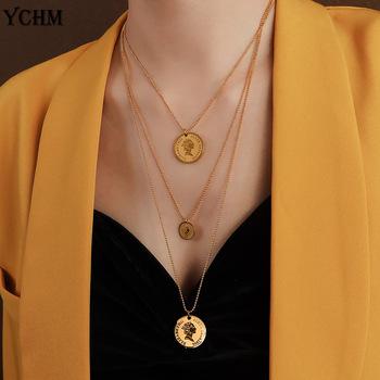 Królowa elżbieta Avatar moneta warstwowy naszyjnik biżuteria ze stali nierdzewnej dopasuj się do siebie różowe złoto platerowany naszyjnik dla kobiet YCHM tanie i dobre opinie duobeiduo STAINLESS STEEL Kobiety Wisiorki CN (pochodzenie) TRENDY łańcuszek NASZYJNIKI Metal Coin Zgodna ze wszystkimi