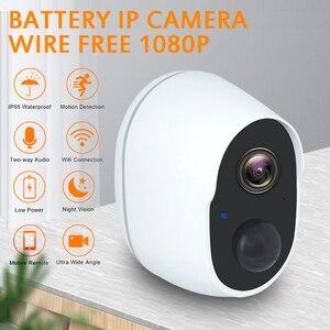 Cámara de seguridad exterior sin cables, batería recargable, cámara IP inalámbrica 1080P, Wifi, IP, sistema de vigilancia del hogar, tarjeta PIR TF
