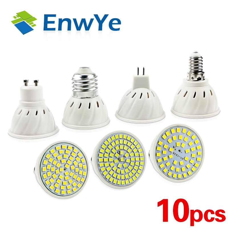 10pcs E27 E14 MR16 gu5.3 GU10 light LED Bulb 220V 240V LED Lamp Spotlight 48 60 80 LED 2835 SMD Lampara Spot(China)