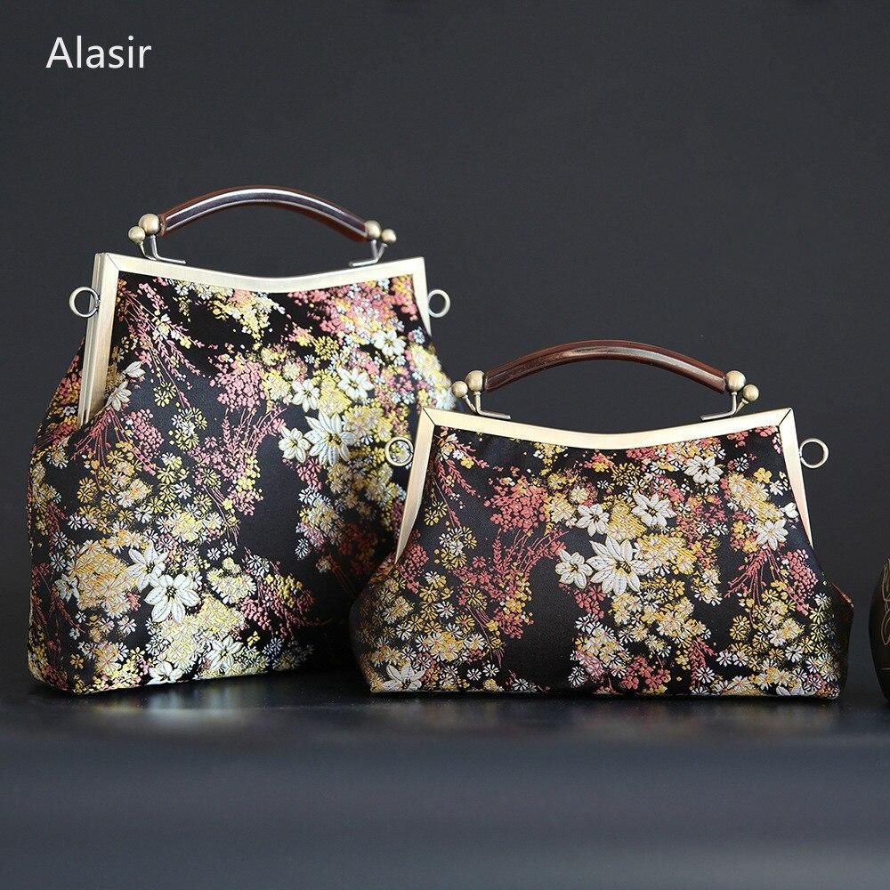 Alasir Original Design Bag Hand-made Vintage Cheongsam Bag Brocade Women Shoulder Bags Laurel Flower Chinese Style Handbags