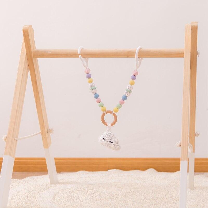 Bebê brinquedo de madeira clipe de pram