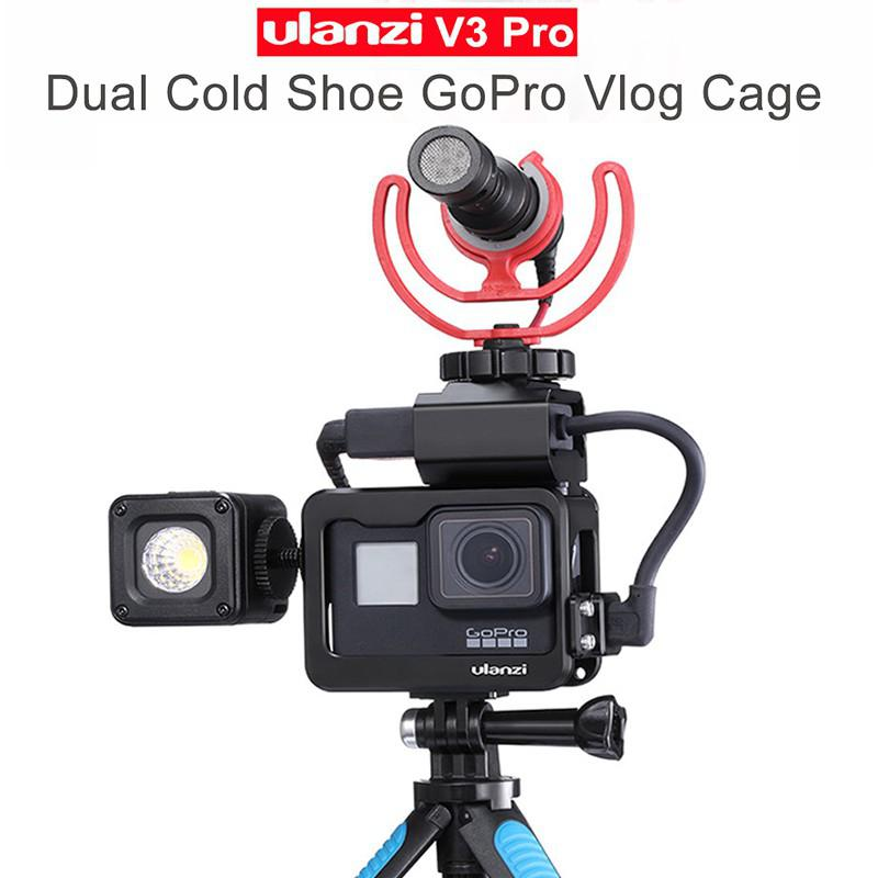 Ulanzi V3 Vlog Case Metal Cage for Gopro 7 6 5 Vlogging with 52MM Lens Filter Mic Power Adapter Cold Shoe