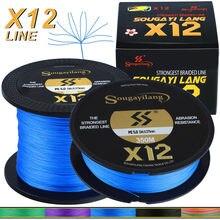 Sougayilang x12 pe trança linha de pesca forte pe resistente à abrasão fio de pesca para água salgada de água doce ao ar livre engrenagem de pesca