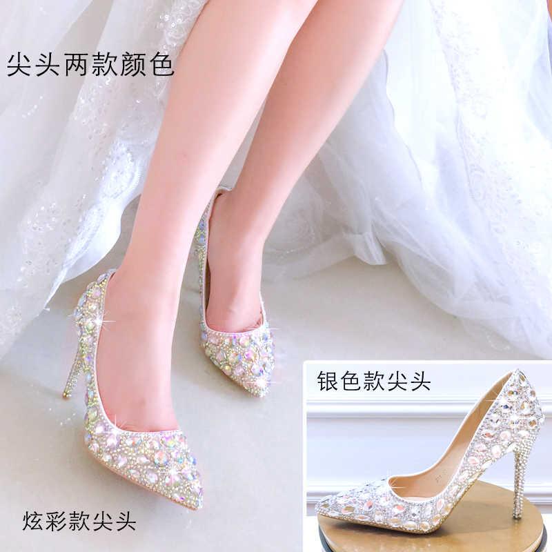 Pha Lê cưới 2019 phụ nữ mới của thấp gót giày cao gót đính kim cương giả đế dẹt chỉ cô dâu với đế