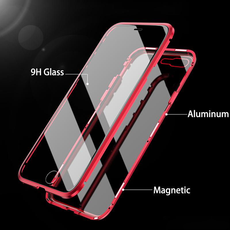 Luxury Double sided glass Metal Magnetic Case Tempered Glass Built in Magnet Glass Back Cover for iPhone x 7 8 6 6s plus Cases in Fitted Cases from Cellphones Telecommunications