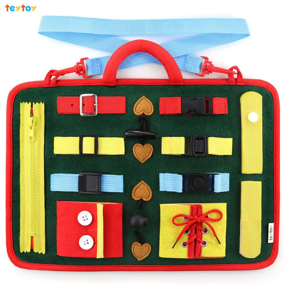 teytoy Buckle Toy, Baby Toy Basic Skills Activity Board education Learning Toys Learn to Snap,Zip,Tie Shoe Laces