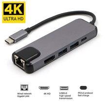 USBC zu RJ45 HDMI-kompatibel USB 3,0 Typ C Port Hub Gigabit Ethernet Lan 4K für Macbook Pro air Thunderbolt 3 USB-C Ladegerät