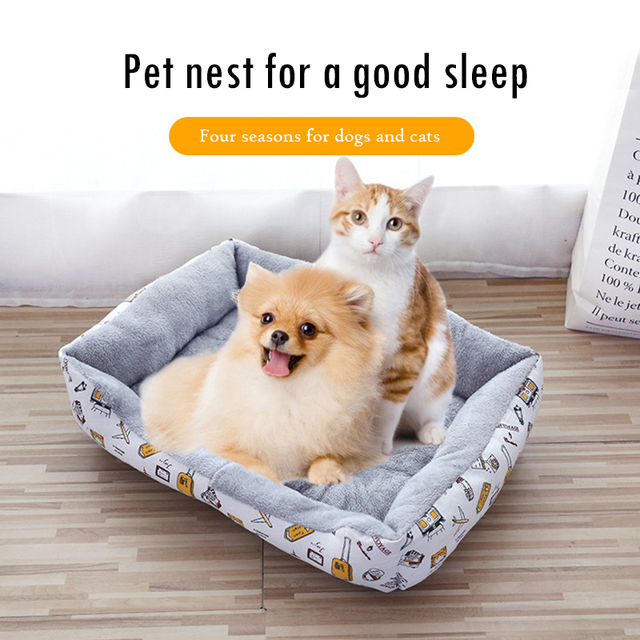 new Pet Cat dog Bed Warm Pet Products For Small Medium Large Dog Soft For Dogs Washable House For Cat Puppy Cotton Kennel Mat 2