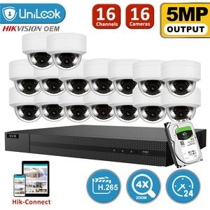 UniLook H.265 + 16CH 4K HD POE NVR комплект ip-камера безопасности система наружного аудио с 16 купольной камерой s 2,8 ~ 12 мм Zoom HIK Connect