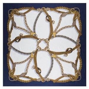 Image 1 - 新しいベルトチェーン 130 センチメートル正方形スカーフ高級ブランドのスカーフ女性ツイルシルクスカーフ女性のハンカチショールecharpe tuaban
