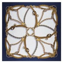 Écharpe de ceinture carrée en soie, 130cm, écharpe de marque de luxe, foulard, sergé, châle, Tuaban, nouvelle collection