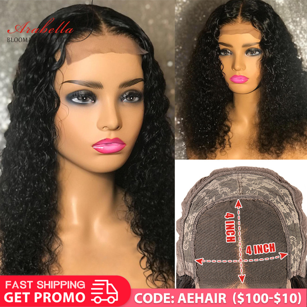Brazilian Hair Wigs 100% Human Hair Closure Wig With Baby Hair Arabella 180 Density Remy Hair 4*4 6*6 Lace Closure Deep Wave Wig