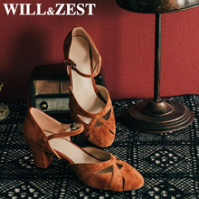 Woman Shoes Sandals Stripper-Heels Crossdressers Suede-Caramel Mary Jane Dance Sexy Shallow