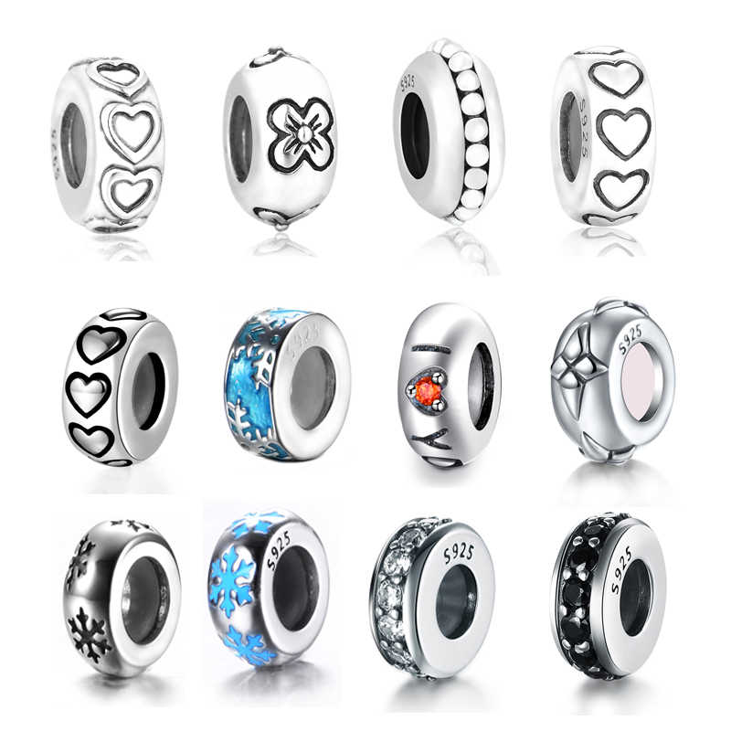 100% S925 чистого серебра фиксаторы уход за кожей лица бусины, подходят к оригинальному браслету Аутентичные Подвески коллекция 15 видов стилей и прозрачный CZ разделительные