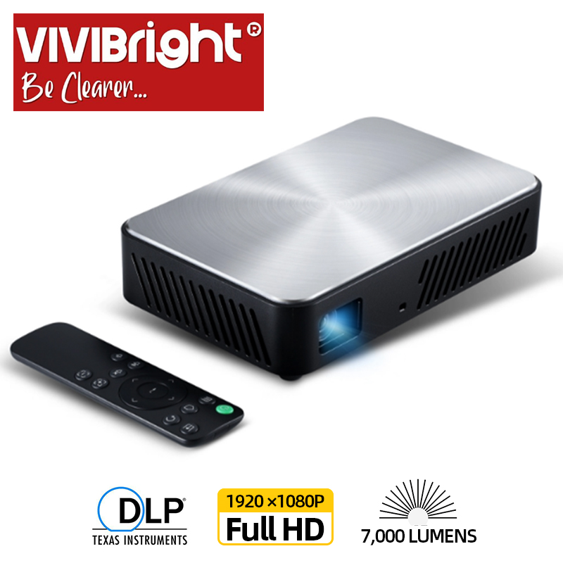 VIVIBRIGHT Proiettore Full HD J10, 1920x1080 P, Android, WIFI, HD in. 6000mAH Batteria, Portatile MINI Projector.1080P Home Theater