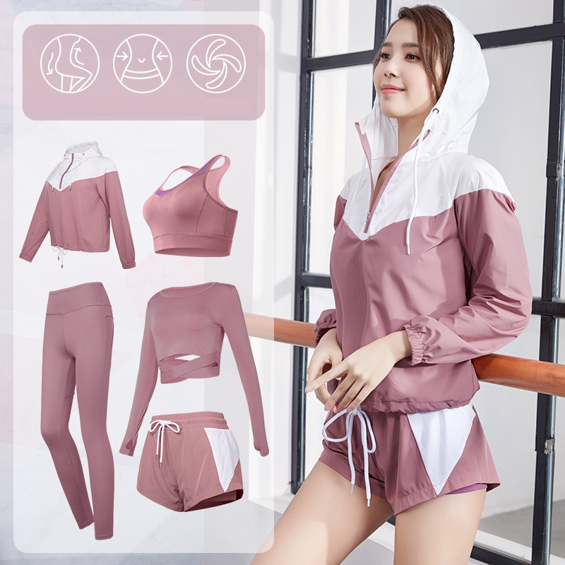 Womens 4-5pcs Sport Suit For Running Training Sexy Crop Top Yoga Suits Woman Gym Sets Femme Fitness Workout Clothing Set