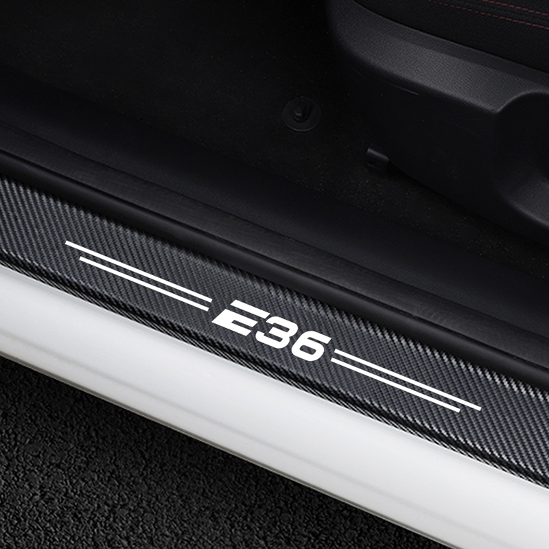 4PCS Car Door Sills Guards Anti Scratch Cover Stickers For BMW E36 3 Series Carbon Fiber Protector Scuff Pedal Cover Accessories