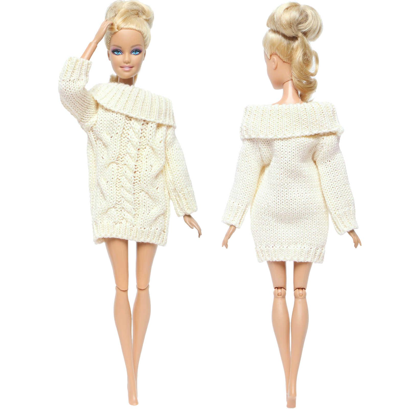 اليدوية الملونة دمية معطف القطن الخالص سترة الشتاء محبوك القمم فستان ملابس لفتاة دمية باربي الملحقات لتقوم بها بنفسك لعبة