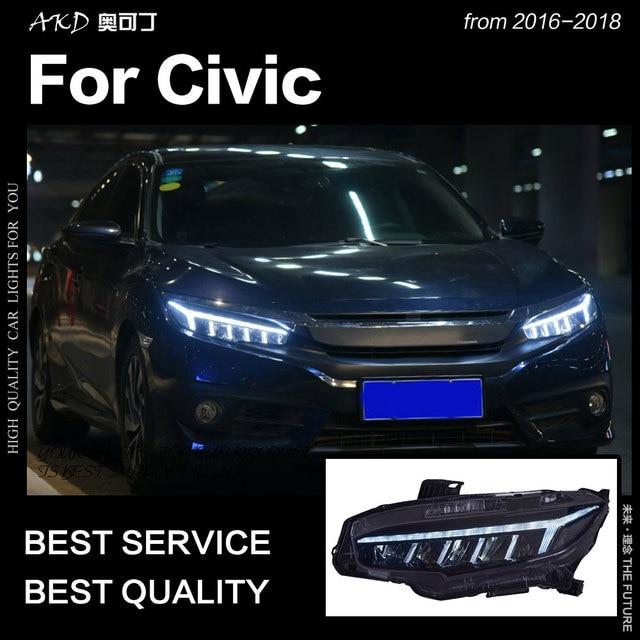 AKD Car Styling for Civic Headlights 2016-2018 All LED Headlight DRL Dynamic Signal Hid Head Lamp Bi Xenon Beam Auto Accessories