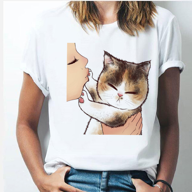 Kiss Cat Women's T Shirt Harajuku Ulzzang Funny Cute Cat Printed Short Sleeve Casual Cartoon Streetwear Korean Style Tops Female