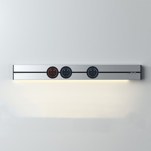 Настенный светильник 50 см с 2,4a USB * 2 светодиодными лентами, Электрический орбитальный светильник, 3 адаптера, гибкая розетка серебристо-серо...