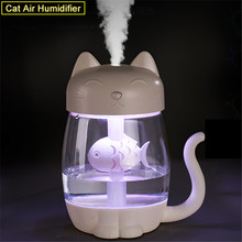 3 in 1 USB Cat Air Humidifier Ultrasonic Mist Maker Cute Mini Humidifier with LED Light Mini USB Fan for Home office 350ML tomnew 3 in 1 mini cool mist humidifier 200ml auto shut off portable air diffuser with usb fan and led light for home office car