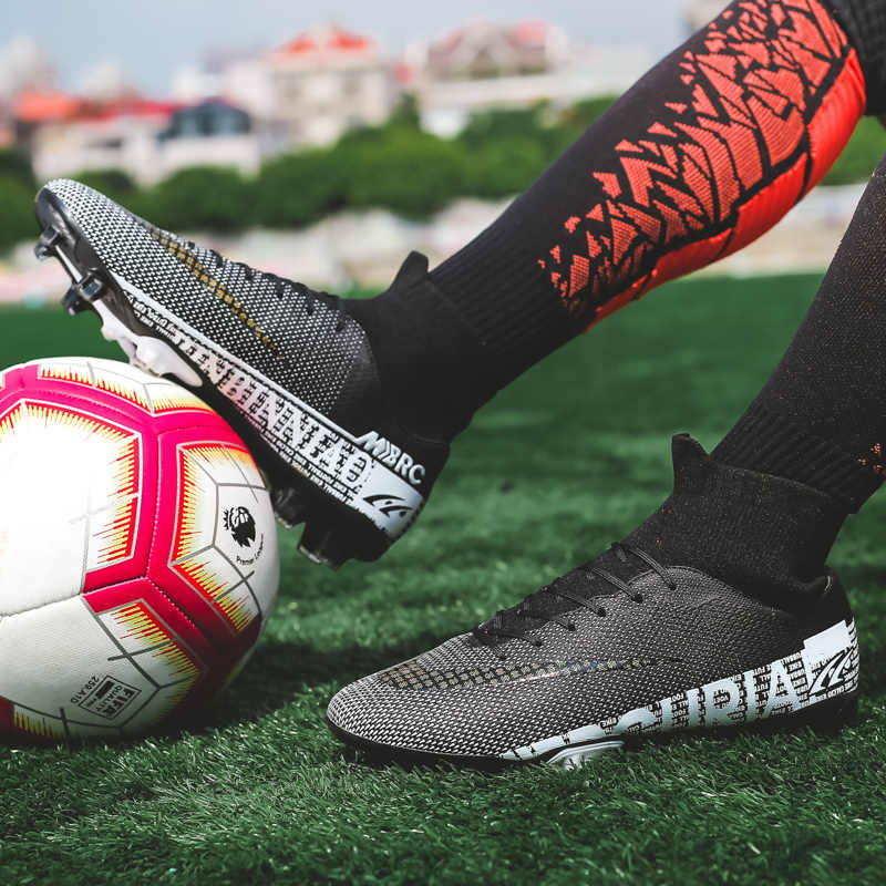 Booming Ukuran 35-44 Unisex Soccer Sepatu Panjang Paku TF Pergelangan Kaki Sepak Bola Luar Ruangan Rumput Cleat Sepak Bola Sepatu Chuteira futebo