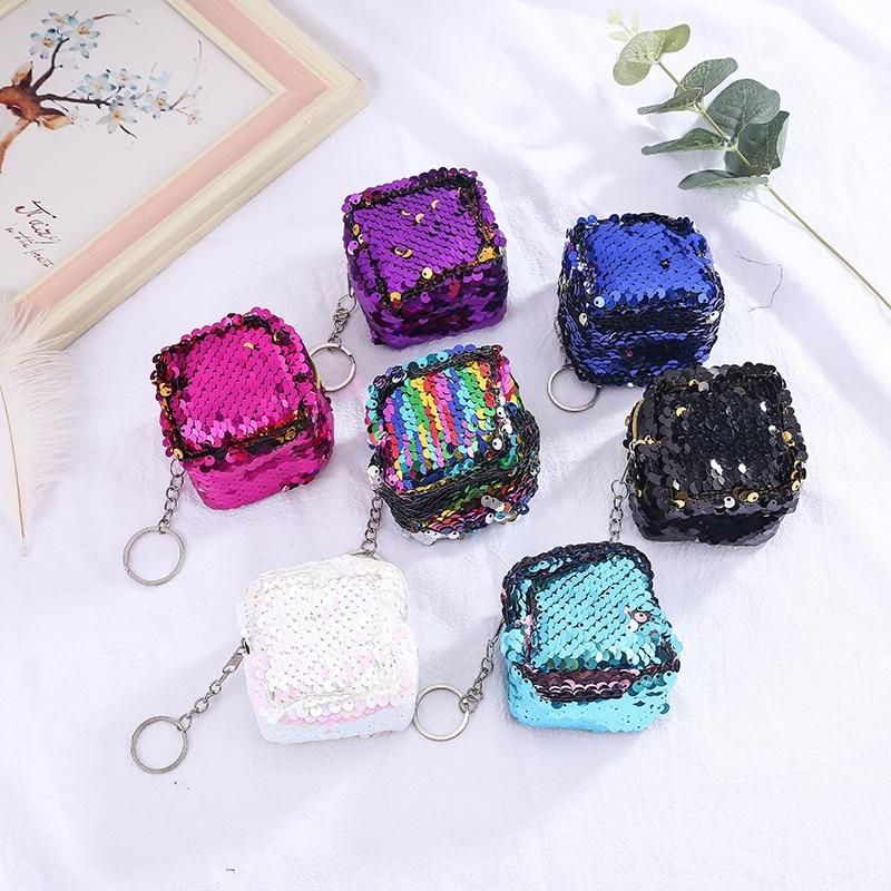 The New Cute Coin Purse Glitter Sequins Women Small Zero Wallet Bag Pouch Keychain Kids Girls Money Change Purses Gift 2019