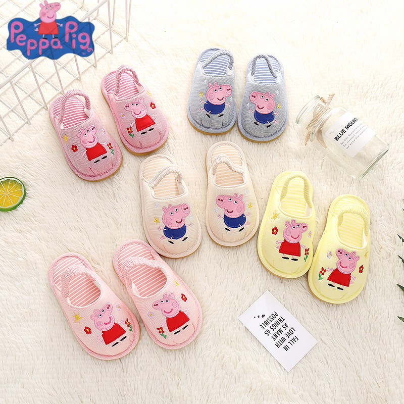 Peppa Pig Shoes Children Baby Shoes Cartoon Slippers Autumn Winter Indoor/Outdoor Soft Plush Peppa Pig George Slippers Shoes