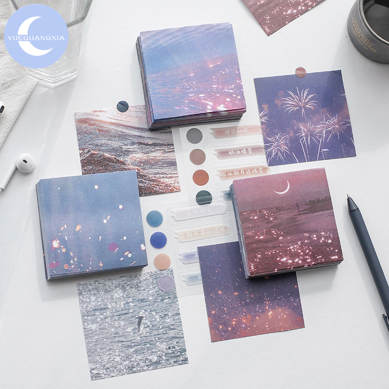 YueGuangXia 90pcs/lot Fantasy Ocean Cloud Firework Loose Leaf Memo Pads Notes Minimalist Write Down Points Artsy Style Memo Pads