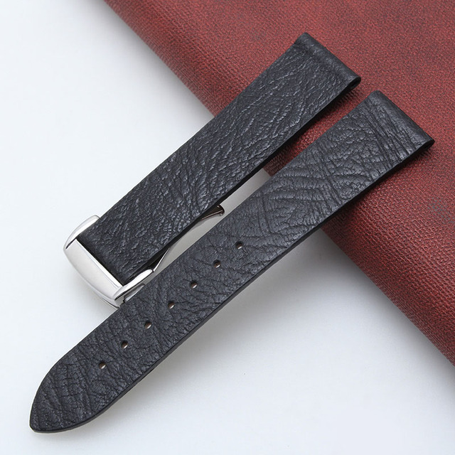 Genuine Crazy-horse Leather Ultra-thin Man's Strap Folding Buckle Universal Watch Band Soft 20MM 22MM Blue Black + Free Tools | Watchbands