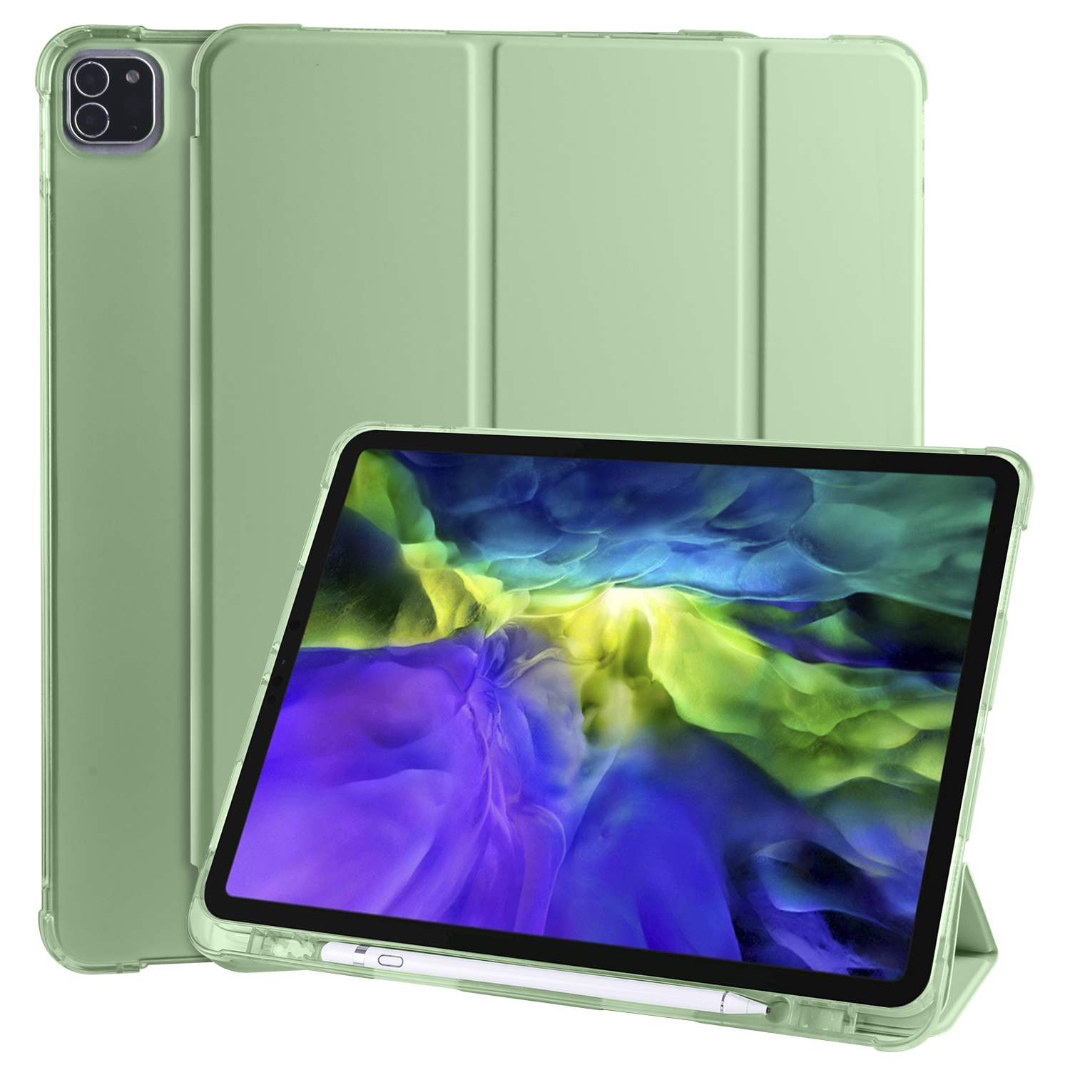 Green Green Smart Soft Shockproof Case for iPad Pro 12 9 2020 2018 3rd 4th Generation with Pen