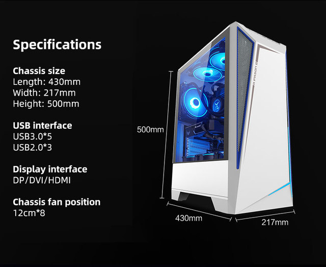 IPASON AMD Ryzen 5 5600X RTX3060TI 8G 500G SSD 16G DDR4 RAM High Performance Gaming PC