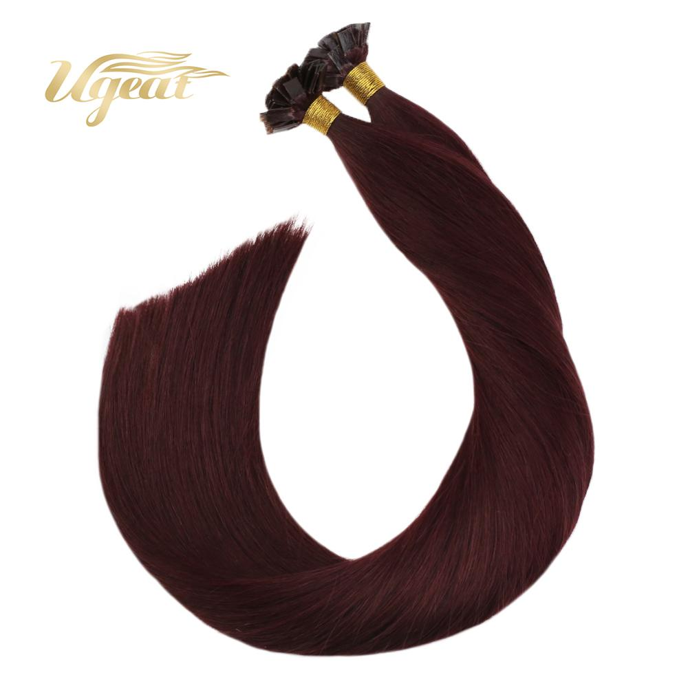 Ugeat Pre-Bonded Fusion Hair Flat Tip Hair Extensions #99J Wine Red Color Hair 14-24