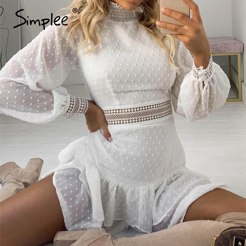 Simplee Sexy Hollow Out Women Dress Streetwear Polka Dot Long Sleeve Mini Dress Summer Solid Ruffle High Waist Lace Dress 2020