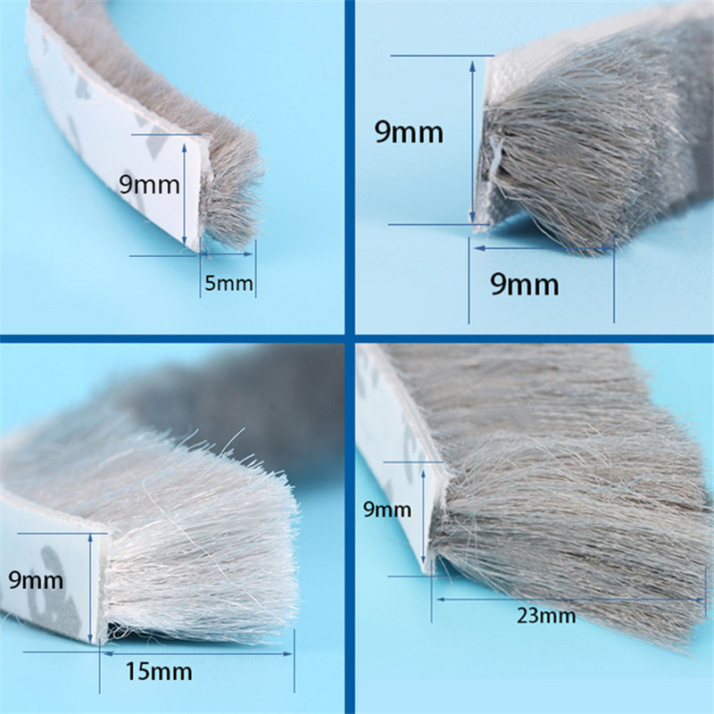 3Meters/5Meters Brush Strip Self Adhesive Door Window Sealing Strip Home Door Window Sound Insulation Wind-proof Strip Gasket