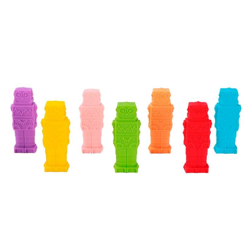 1 Pcs Sensory Chew Necklace Robot Shape Chewy Kids Silicone Biting Pencil Topper Teether Toy