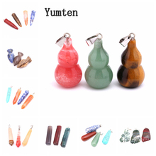 Yumten Natural Stone Gourd Charms Gem Pendant Irregular Fashion Accessories Plant Heal Crystal Jewelry Women Necklace Couple