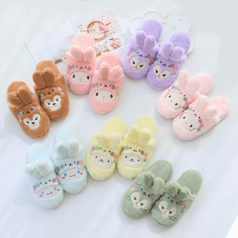 Duffy Bear Stellalou HelloKitty My Melody Cinnamoroll PomPomPurin Slippers Winter For Women Girls Cartoon Indoor Plush Slippers